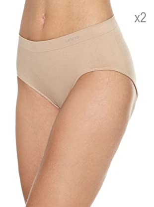 Unno Pack x 2 Braguitas Sin Costuras Microfibra (Nude)
