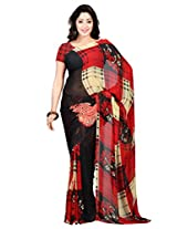Admyrin Black and Red Georgette Saree with Red Blouse Piece