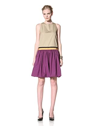 GIAMBATTISTA VALLI Women's Sleeveless Colorblock Dress (Beige/Purple)