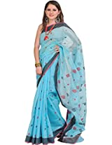 Exotic India River-Blue Handloom Chanderi Saree with Woven Bootis - Blue