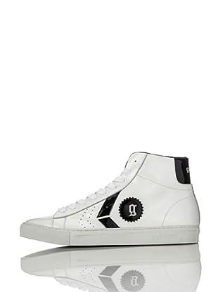 Galliano Zapatillas Alta Zip (Blanco / Negro)