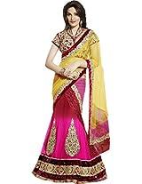 Yellow Pink Bridal Wear Embroidery Patch Work Chiffon Net Lehenga Saree Sari