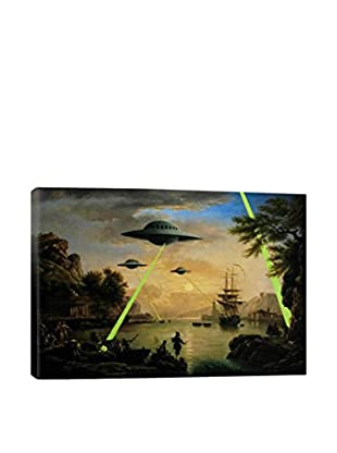 Banksy Flying Saucers Aliens Gallery Wrapped Canvas Print