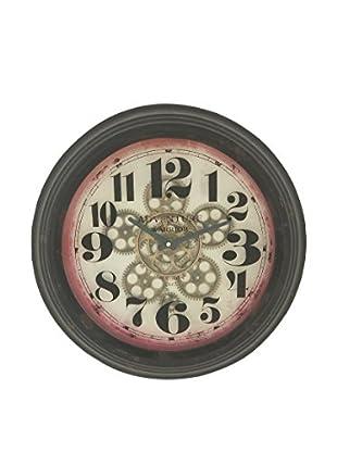 Round Metal Wall Clock, Black/Multi