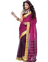 Parchayee Women's Cotton Saree (94381A, Purple, Free Size)