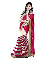 Vibes Women's Georgette Saree, With Blouse (S52-11001_Pink)