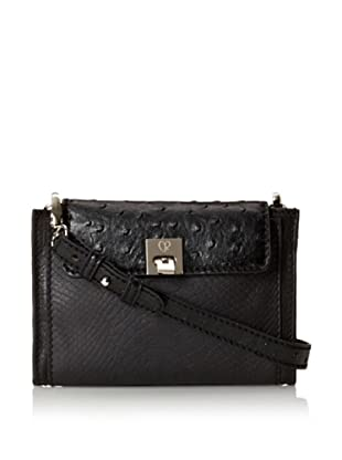 Charlotte Ronson Women's Mixed Exotic Cross-Body (Black)