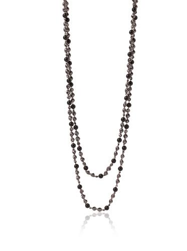 Tuleste Market Spiral Bead Necklace, Gunmetal/Black