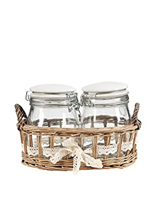 2 Jars In Willow Basket