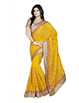 Colors Fashion Yellow Chiffon Latest Designer Party Wear Heavy Work Saree