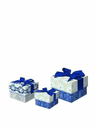 Punch Studio Set of 3 Nesting Square Trinket Boxes (Silver Foil)