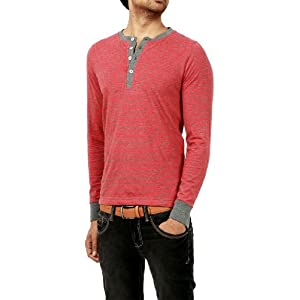 BASICS CASUAL STRIPES RED COTTON VISCOSE MUSCLE T.SHIRTS