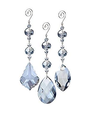 Winward Set of 3 Handcrafted Gatsby Crystal Pendants, Teal