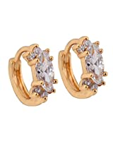 SuperShine Gold Plated Hoop Earrings Fashion Jewelry with American Diamond & Cz Fashion Jewellery