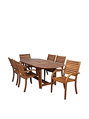 Amazonia Arizona 7-Piece Eucalyptus Extendable Oval Patio Dining Set, Brown