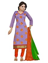 Lookslady Embroidered Purple Heavy Border Chanderi Dress Material