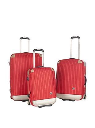 Safavieh 3-Piece Oneonta Luggage Set, Red Stripe