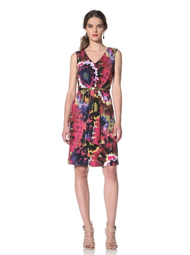 Tahari by A.S.L. Womens Floral Print Dress with Belt (Navy/Pink/Green)