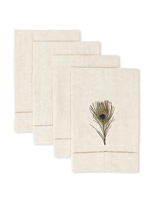 D.L. Rhein Set of 4 Peacock Guest Towels