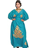 Exotic India Lake-Blue Kashmiri Kaftan with Ari Embroidery - Blue