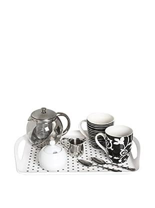 Molecuisine Frühstück Service 8-teilig, weiß/schwarz/silberfarben