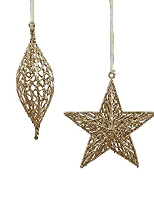 Winward Set of 2 Handcrafted Filigree Ornaments, Gold