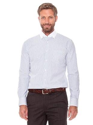 Cortefiel Camisa Raya Fina (azul marino)