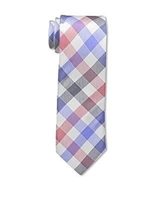 Bruno Piattelli Men's Plaid Silk Tie, Red Blue
