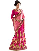 Manvaa pink viscose embroidered casual saree