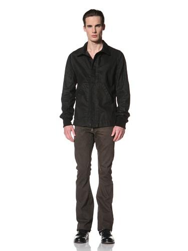 Rick Owens DRKSHDW Men's Prisoner Leather Sleeve Jacket (Triple Black)