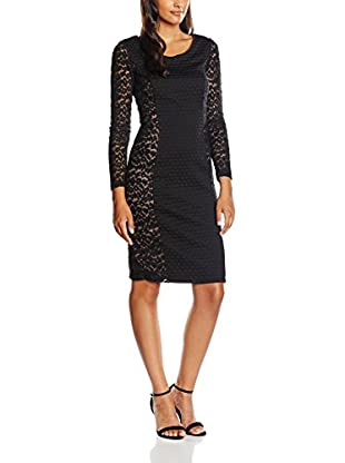 Gina Bacconi Women's Wool and Animal Mesh Panelled Dress, Black, 16