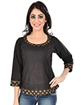 9Rasa Womens Cotton Long Sleeve Top ,Black ,Large