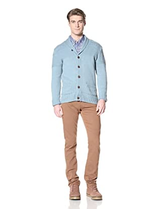 Ben Sherman Men's Shawl Collar Cardigan (Washed Teal)
