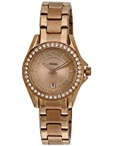 Fossil Riley Analog Gold Dial Women's Watch - ES2889