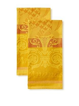 Garnier-Thiebaut Set of 2 L'Ananas Kitchen Towels, Jaune
