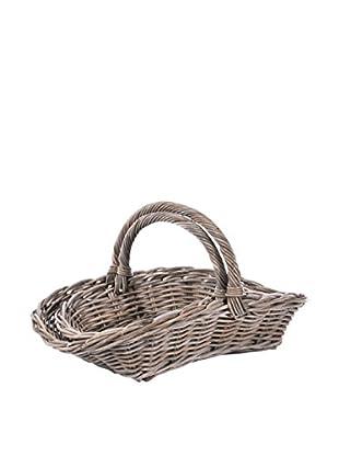 Skalny Set Of 2 Rattan Baskets, Grey