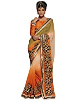 Inddus Women Orange & Brown Ombre Shaded Georgette Embellished Saree