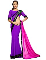 Utsav Fashion Women's Purple and Fuchsia Faux Georgette Saree with Blouse
