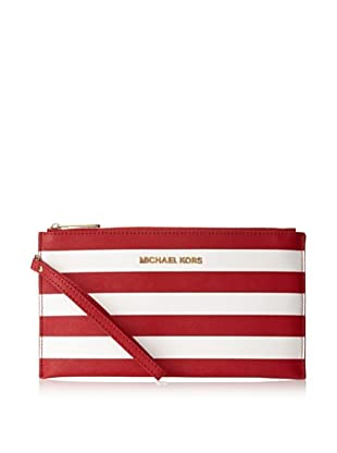 MICHAEL Michael Kors Women's Jet Set Large Striped Zip Clutch, Red/White