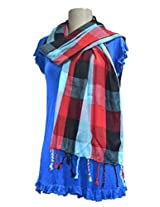 Sofias Exclusive Viscose Woven Medium Shawl,Size-70 cms x 200 cms,Color-Blue / Red