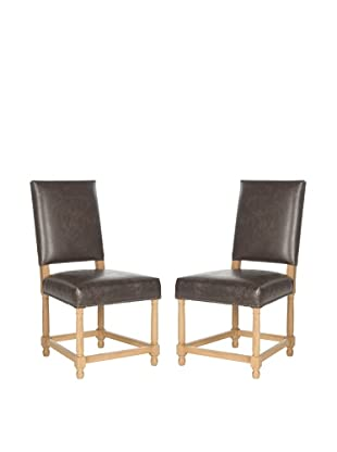 Safavieh Set of 2 Faxon Side Chairs, Antique Brown