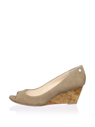 Calvin Klein Women's Shelley Peep-Toe Wedge (Taupe)