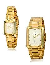 Titan Bandhan Analog White Dial Pair Watch-NE19552955YM02