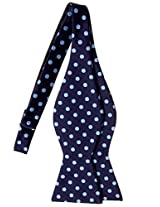 Retreez Classic Polka Dots Woven Microfiber Self Tie Bow Tie - Navy Blue with Light Blue Dots
