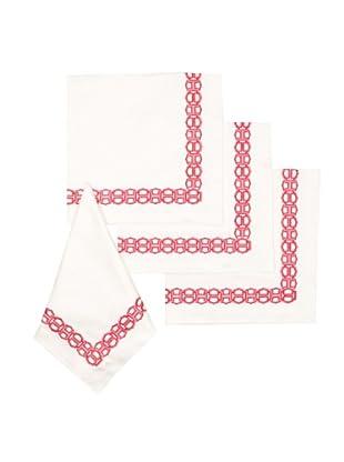 Trina Turk Set of 4 Ogee Embroidered Napkins (Pink)