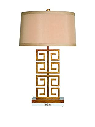 Couture Greek Key 1-Light Table Lamp, Gold Leaf