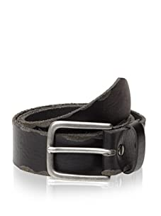 Bill Adler Design Men's Raw-Edge Leather Belt (Black)