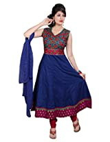 Divinee Blue Cotton Readymade Anarkali Red