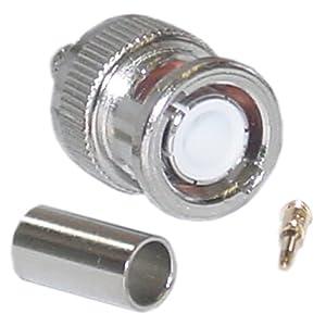 CableWholesale BNC Male Crimp-On Connector, 3 Piece Set, RG59 (31X2-01430)