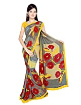 Sonal Trendz Grey & Yellow Color Printed Georgette Saree with Blouse